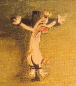 """""""Der Wille zur Wurst 3"""", 2001 Öl und Gouache auf Leinwand, 40 X 50 cm, Detailansicht"""
