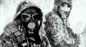 Jeu paintball - Skirmish Village - jeu de tir - masque à gaz - opération Paintball