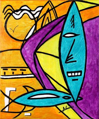 """""""Austral"""" ©2014 AL, technique acrylique sur toile : 45 x 55 cm"""
