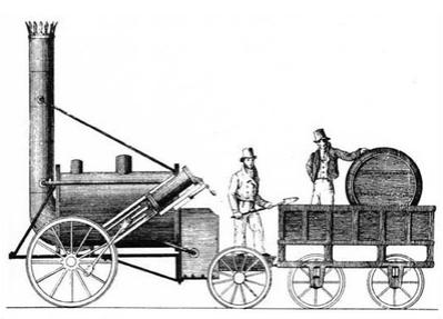 La fusée de Stephenson, une des premières locomotives à vapeur - 1829 - 40 km/h