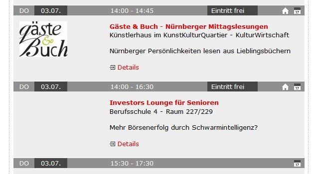 meine-veranstaltungen.net - Veranstaltungshinweise für die Stadt Nürnberg (Screenshot vom 01.07.2014)