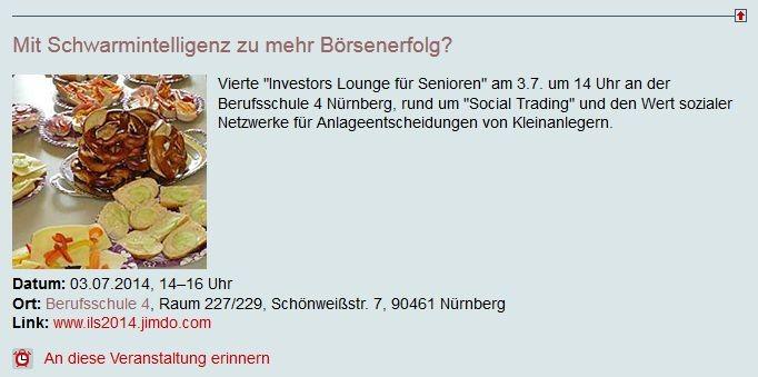 Veranstaltungshinweis auf dem Nürnberger Kultur- und Bildungsserver Kubiss.de (Screenshot vom 01.07.2014)