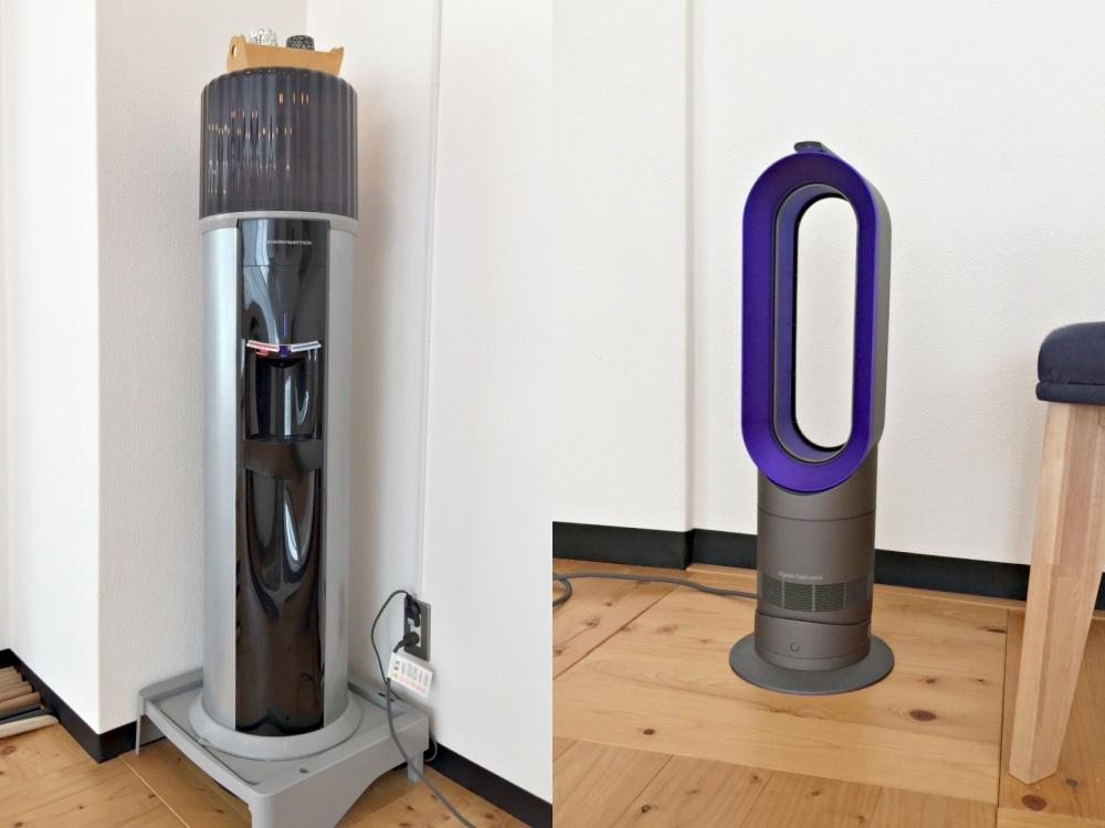 ウォーターサーバーと送風温風機使用可