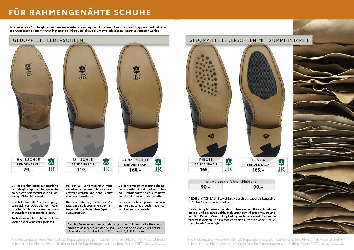 Sohlenreparaturen für Rahmengenähte Schuhe , Halbsohle, 3/4 Sohle, Langsohlen, Komplettreparatur,  Rahmen genäht (gedoppelt)