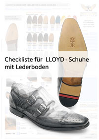 Checkliste, Preisliste und Bestellformular für LLOYD-Schuhe mit Ledersohlen