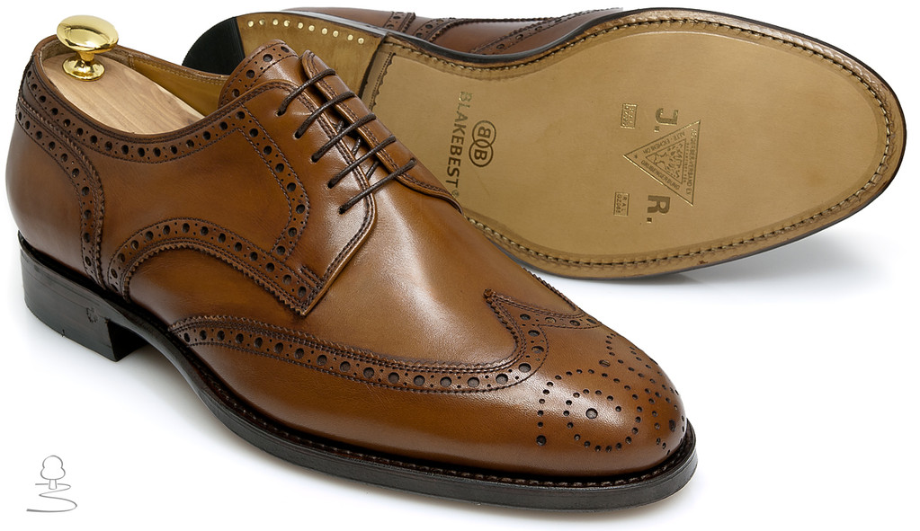 Fullbrogue Derby cognac mit Antikfinish