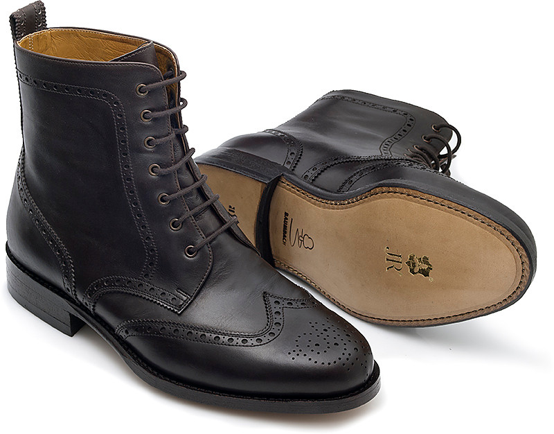 Fullbrogue Derby als Stiefelette in Boxcalf dunkelbraun