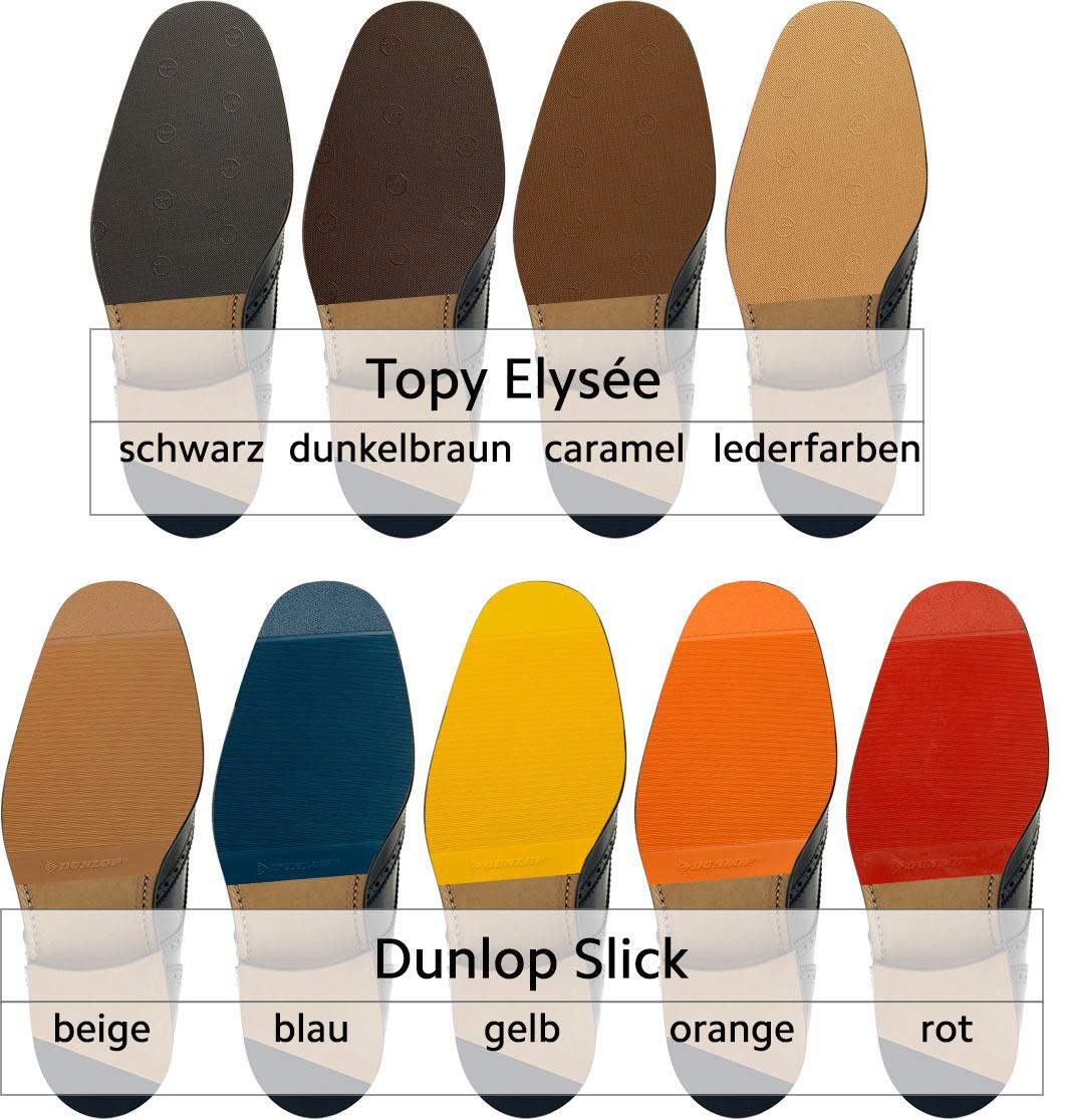 Topy Elysee Gummihalbsohle in schwarz, dunkelbraun, caramel und lederfarben, Dunlop Sick Gummihalbsohle in beige, blau, gelb, orange oder rot.