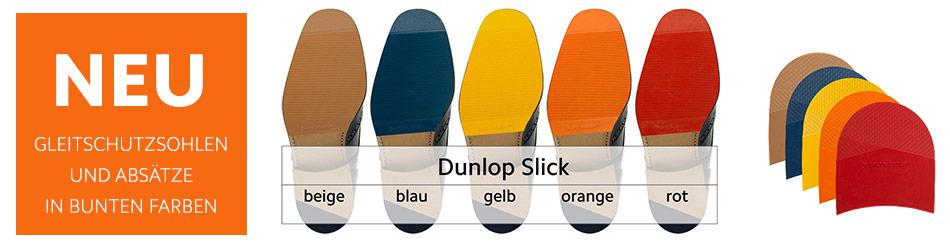 """Neu Bunte """"Slick"""" Gummisohlen und Absätze in den Farben beige blau gelb rot und orange von Dunlop"""
