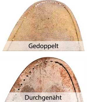 Die Doppelnaht (oben) liegt näher am Rand und  ist mit engeren Stichen genäht als die Durchnähnaht (unten).