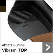 Absatz Gummi Vibram Top in schwarz und dunkelbraun