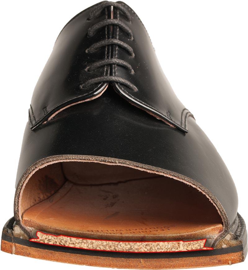 Querschnitt durch den Schuh mit Ausball aus Kork