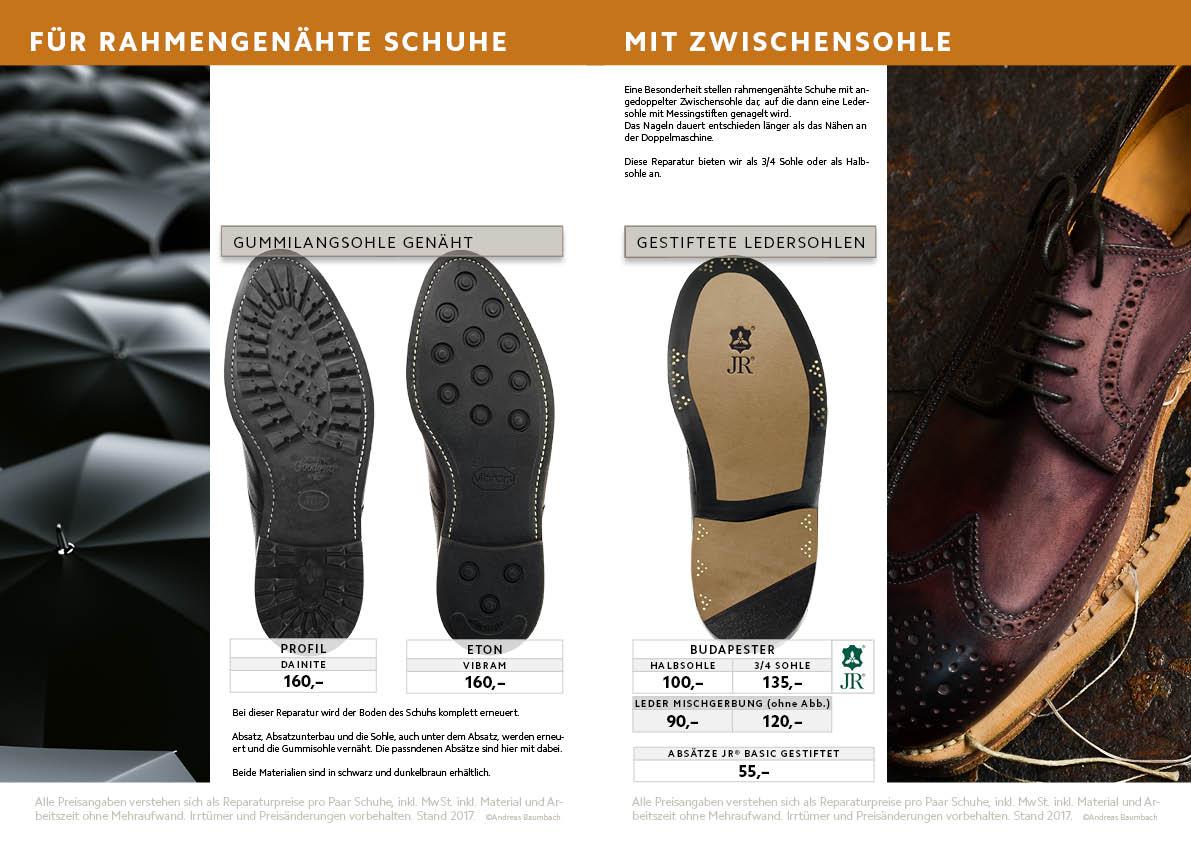Sohlenreparaturen für Rahmengenähte Schuhe nur Sohle + Absatz Gummi und Leder, farbiges Finish, Rahmen genäht (gedoppelt) Bergprofil DAINITE, ETON, Dinkelacker-Optik