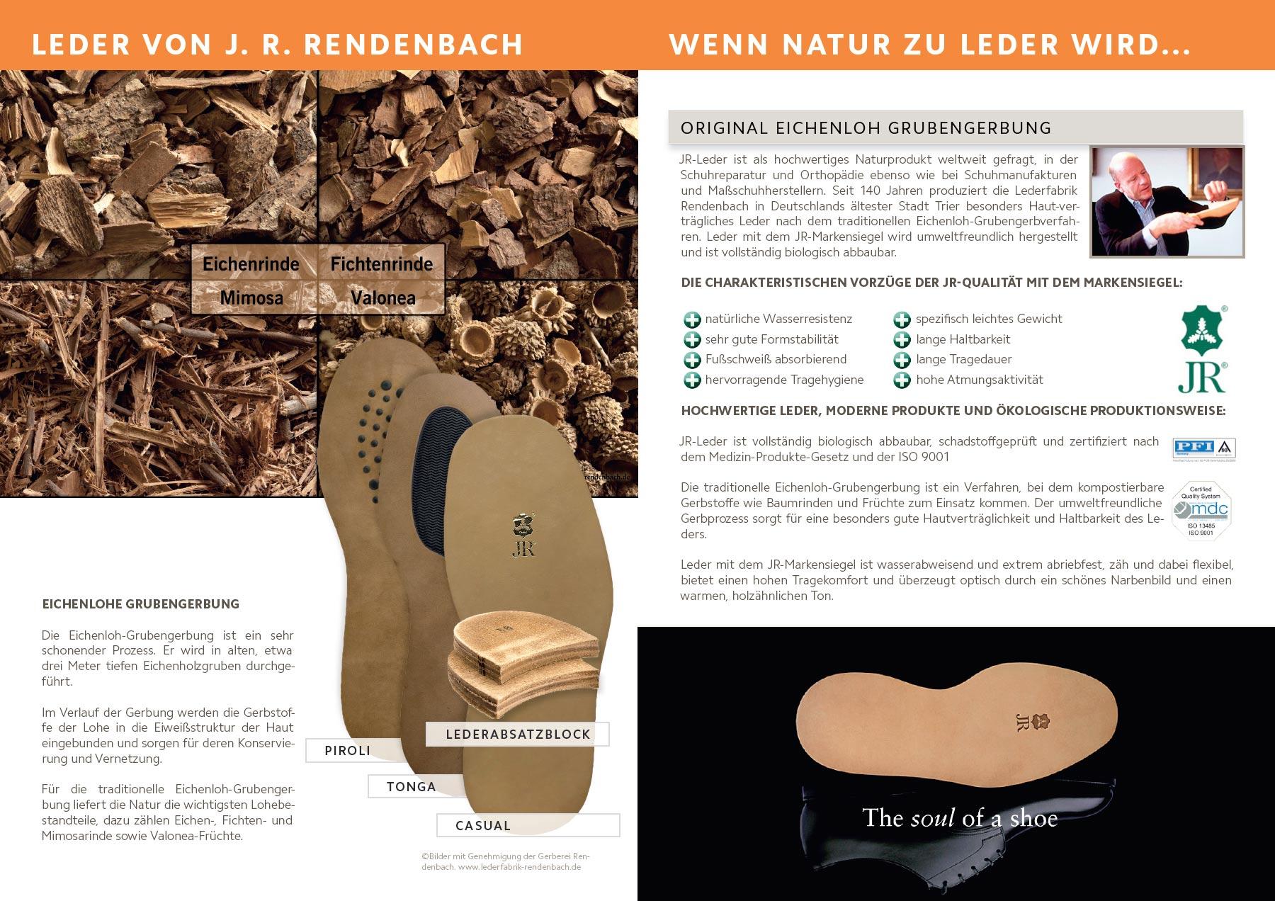JR-Leder ist vollständig biologisch abbaubar, schadstoffgeprüft und zertifiziert nach dem Medizin-Produkte-Gesetz und der ISO 9001. Mit kompostierbaren Gerbstoffen wie Baumrinden und Früchten.