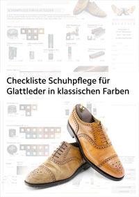 Checkliste, Preisliste und Bestellformular für Pflegemittel für Glattleder Schuhe in klassischen Farben