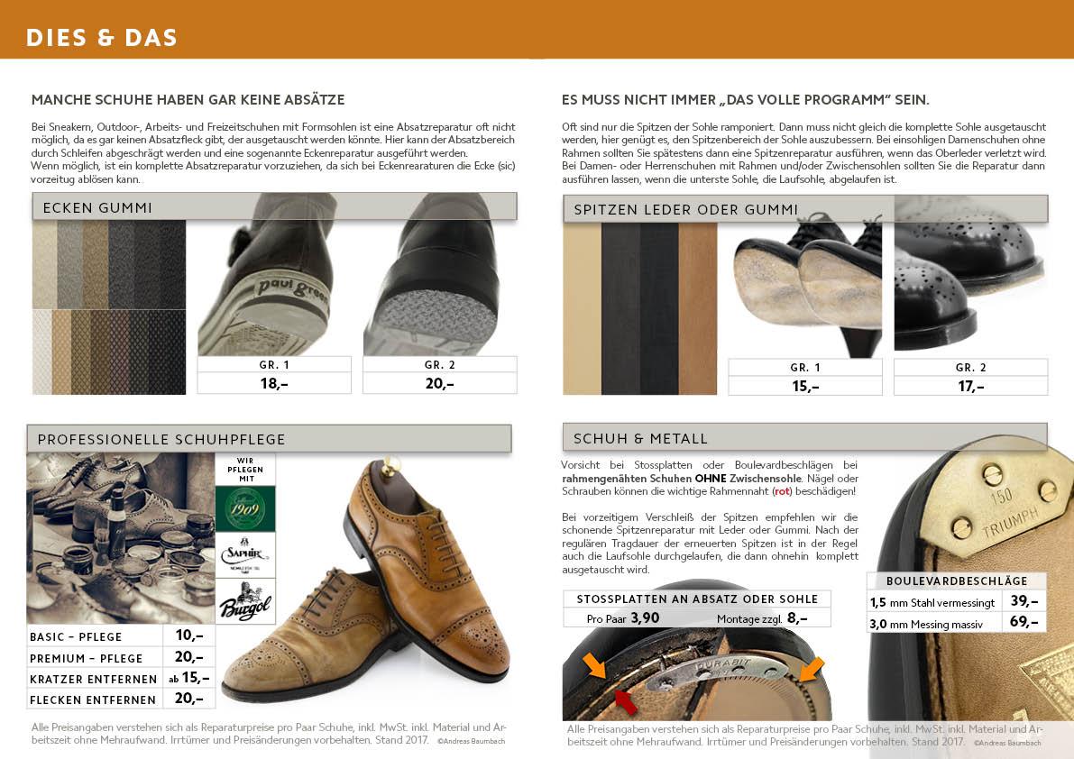 Verschiedene Reparaturen: Schuhe putzen inklusive Reparatur, Reinigung und Pflege, Ecken Gummi in verschiedenen Farben, Spitzen, Stossplatten, Boulevardbeschläge Messing