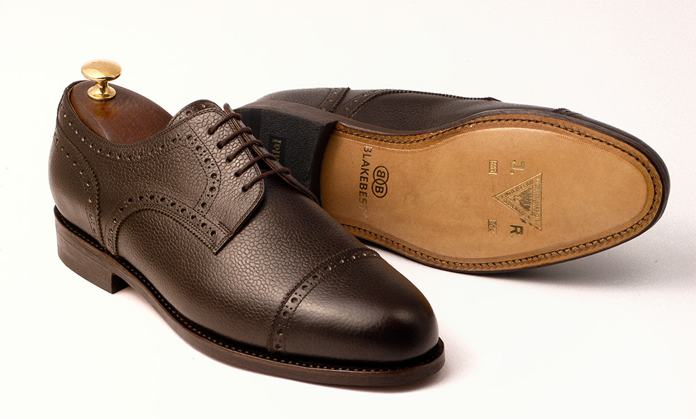Halfbrogue Derby Dunkelbraun Scotch Grain