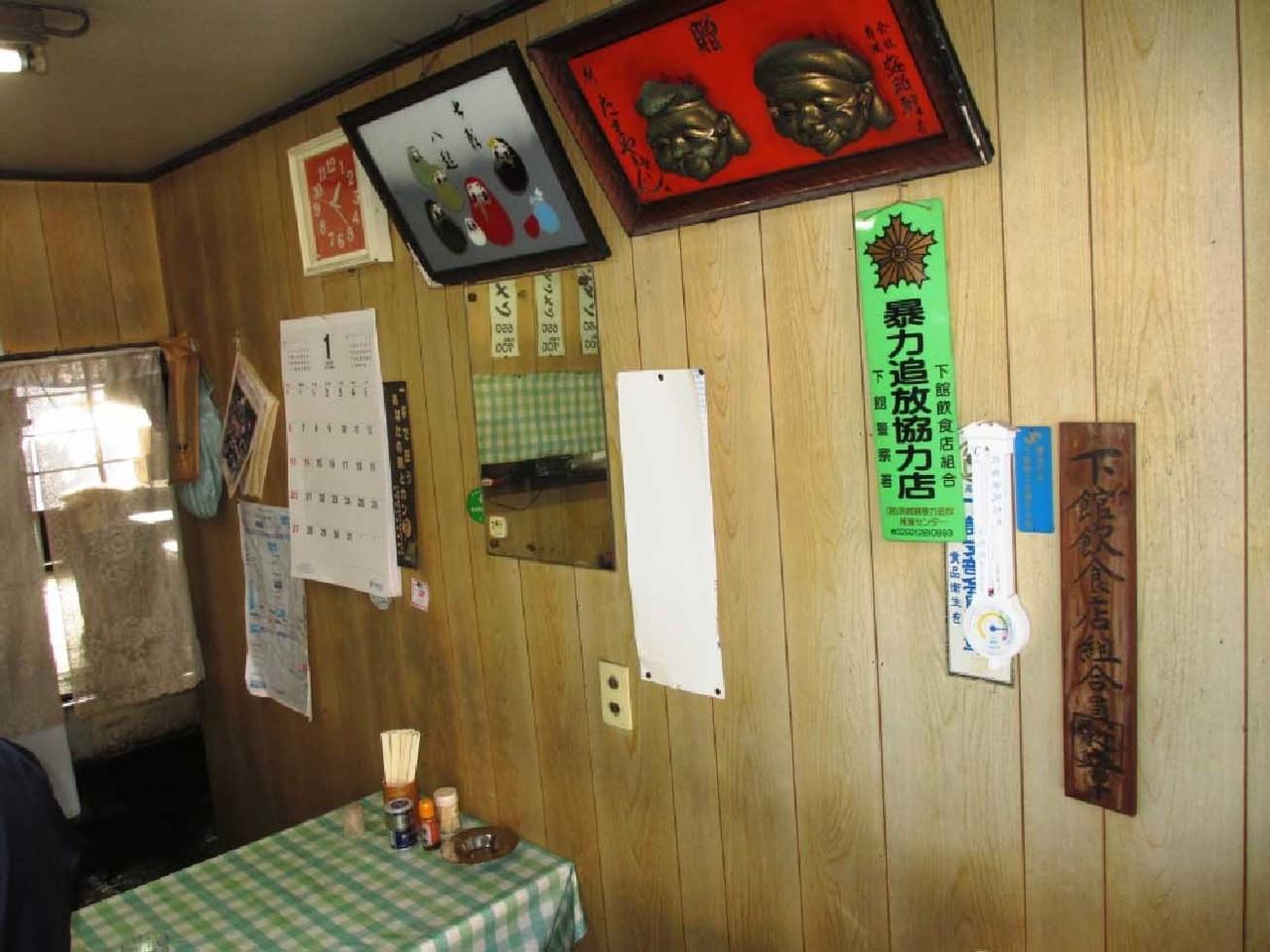壁にはこれまた下館ラーメンの老舗「盛昭軒」よりいただいたお面が飾られている