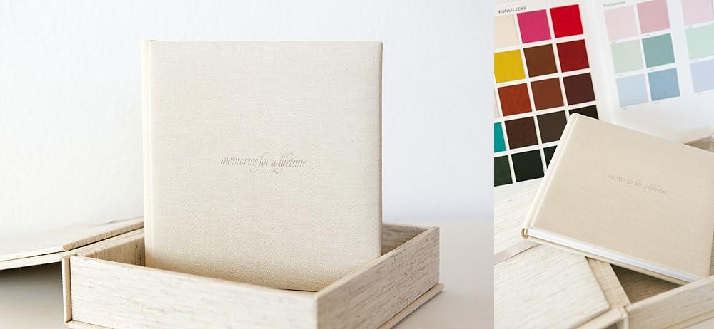 verschiedene Einbandmaterialien und Farben stehen zur Wahl