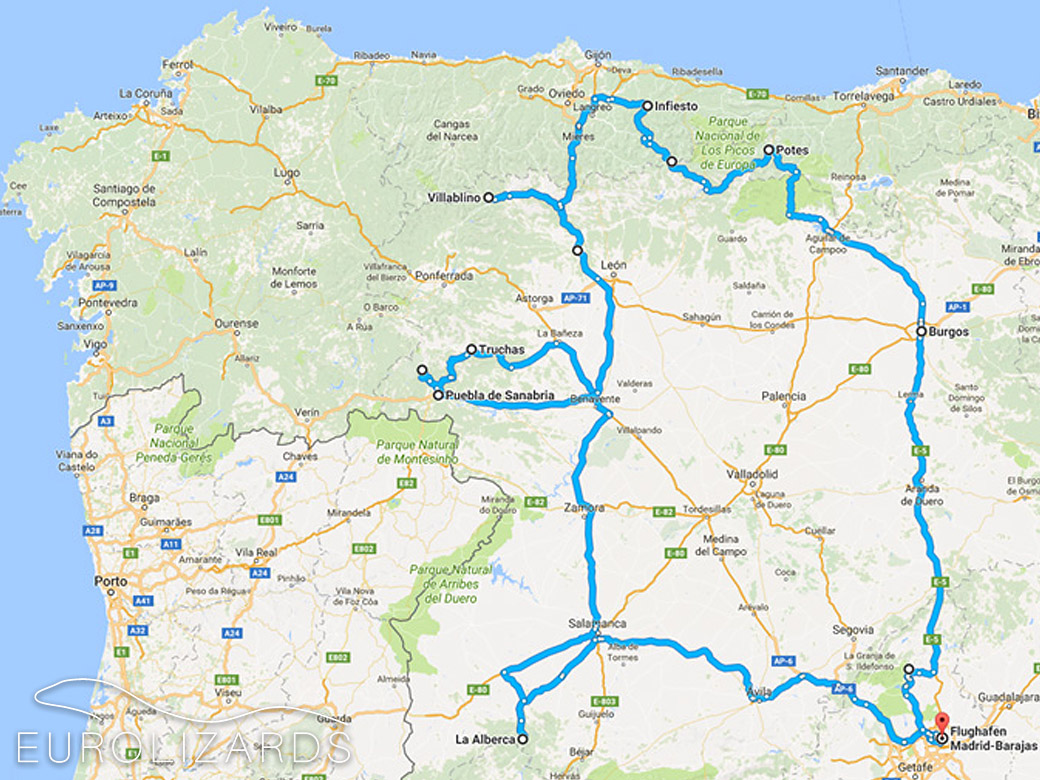 Our route through northwestern Spain