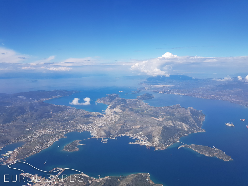 Back to Greece! Approaching Athens airport: view to Salamis island
