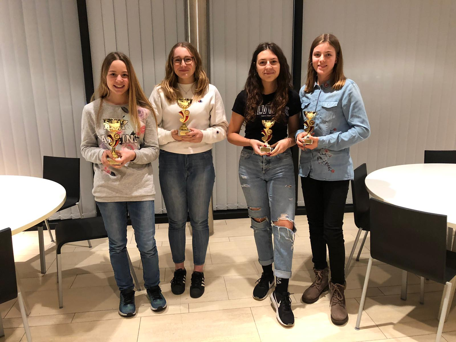 Dressur Junioren: 1. Kyra, 2. Annina, 3. Tamara, 4. Janina
