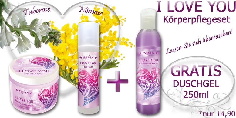 I LOVE YOU  Körperpflegeset mit dem blumig zarten Duft der Tuberose und dem Mimose. Body Butter 200ml, Bodyspray 100ml + GRATIS Duschgel 250ml