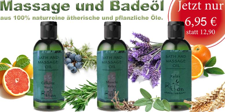 Refan Massage & Badeöl 100ml - Muscle Relax, Anti-Cellulite (Celluliteöl), Relax. Rosmarinöl, Vetiveröl, Wacholderöl, Lavendelöl, Salbeiöl, Orangeöl, Zypressenöl  und Grapefruitöl