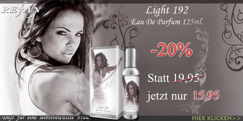 Refan Light 192 Eau de Parfum 125ml. ist ein lebhafter-glamouröser und sehr femininer Duft. Die Kombination von Himbeere, Bitterorange, Neroli, Orangenblüte, Jasmin, Gardenie und der Patchouli-Note gibt dem Duft eine gewisse Sinnlichkeit.