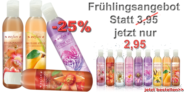 Refan Duschgel 250ml - Granatapfel & Papaya 250ml, Honigmelone & Aprikose 250ml,  I LOVE YOU - Tuberose & Mimose 250ml, Brazilian Nut - Paranüsse 250ml