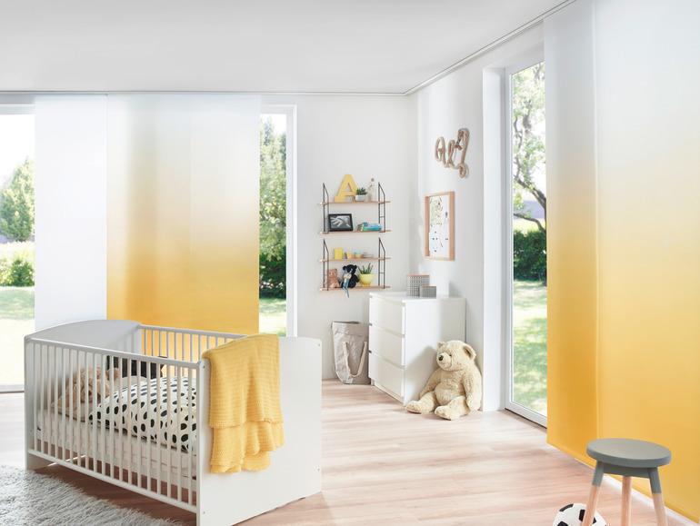 Erfal Flächenvorhang mit Farbverlauf gelb-weiß bei Lamellen Junker in Langenselbold