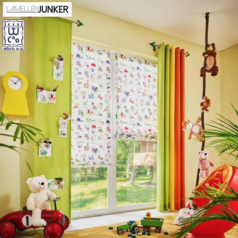 Kinderzimmer-Gardinen, Kinder-Vorhänge, Gardinen für Kinder kaufen, bedruckte Gardinen, Vorhang grün, Vorhang orange, bunte Gardinen