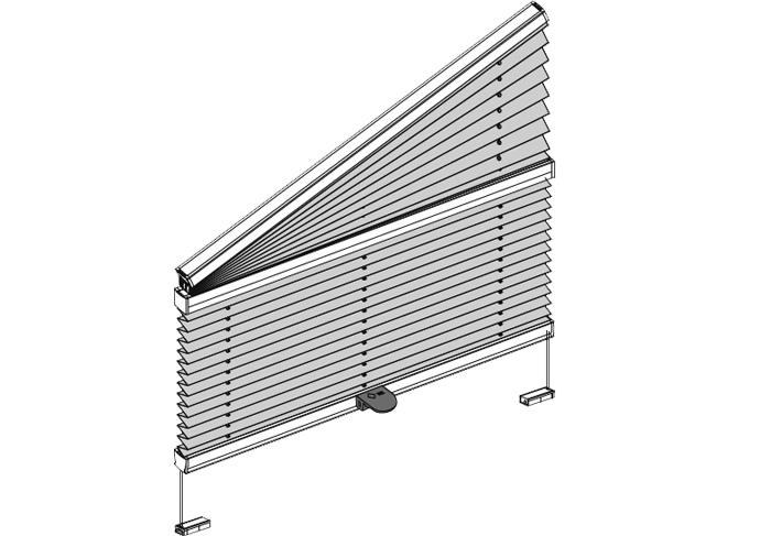 verschiebbares Plissee für schräges Fenster