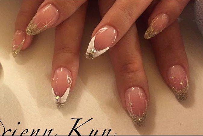 Pearl Farbgel Arbeit - French Nailart