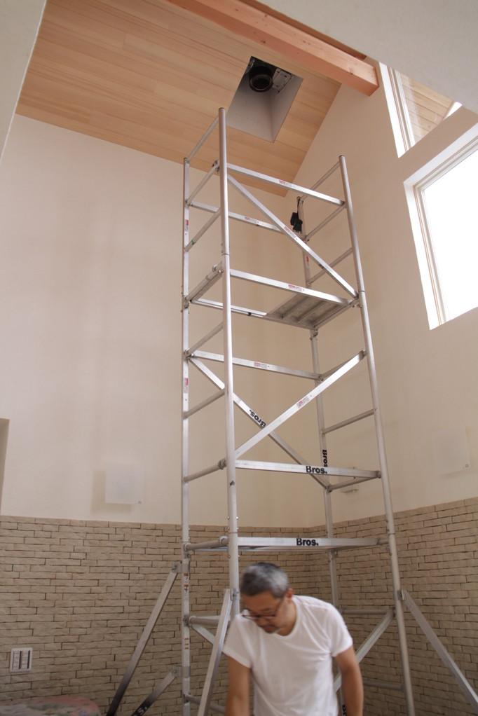 薪ストーブ用煙突の取付準備