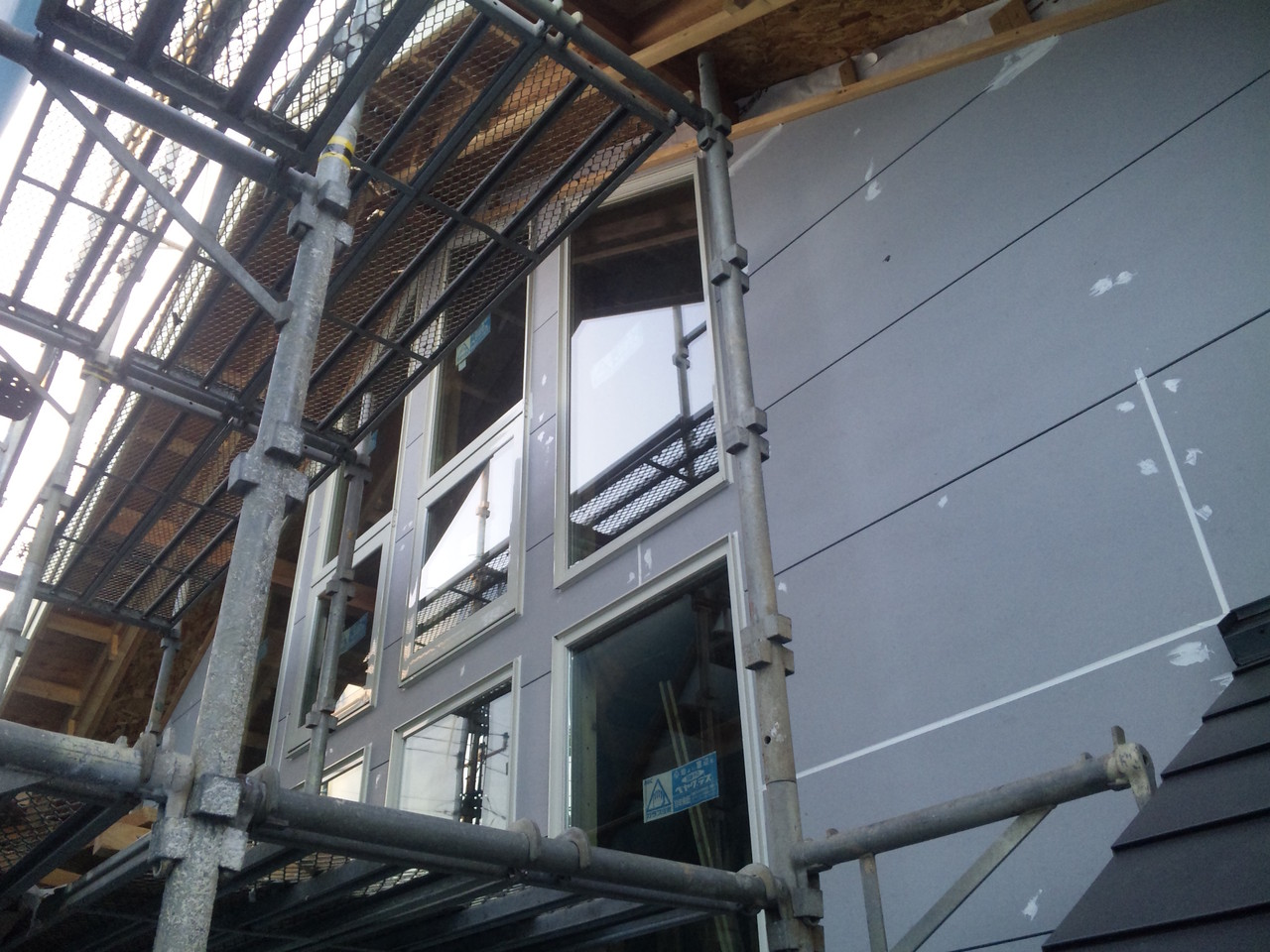 外壁乾式タイル下地防火板工事