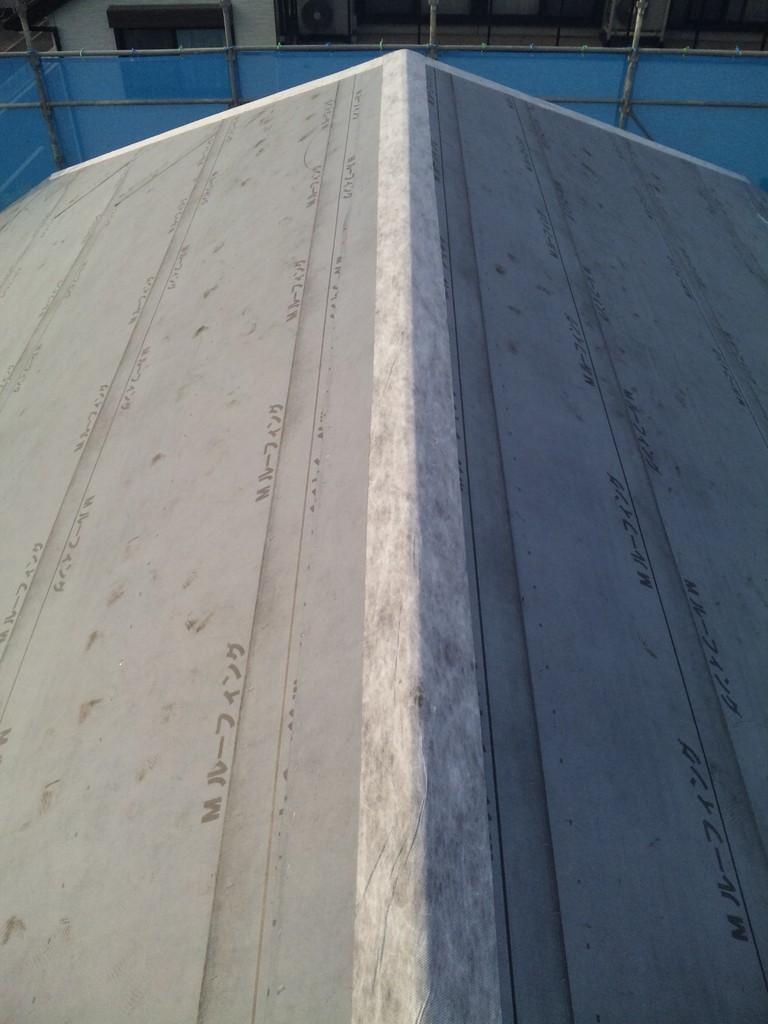 屋根防水紙完了 ゴムアスファルトルーフィング