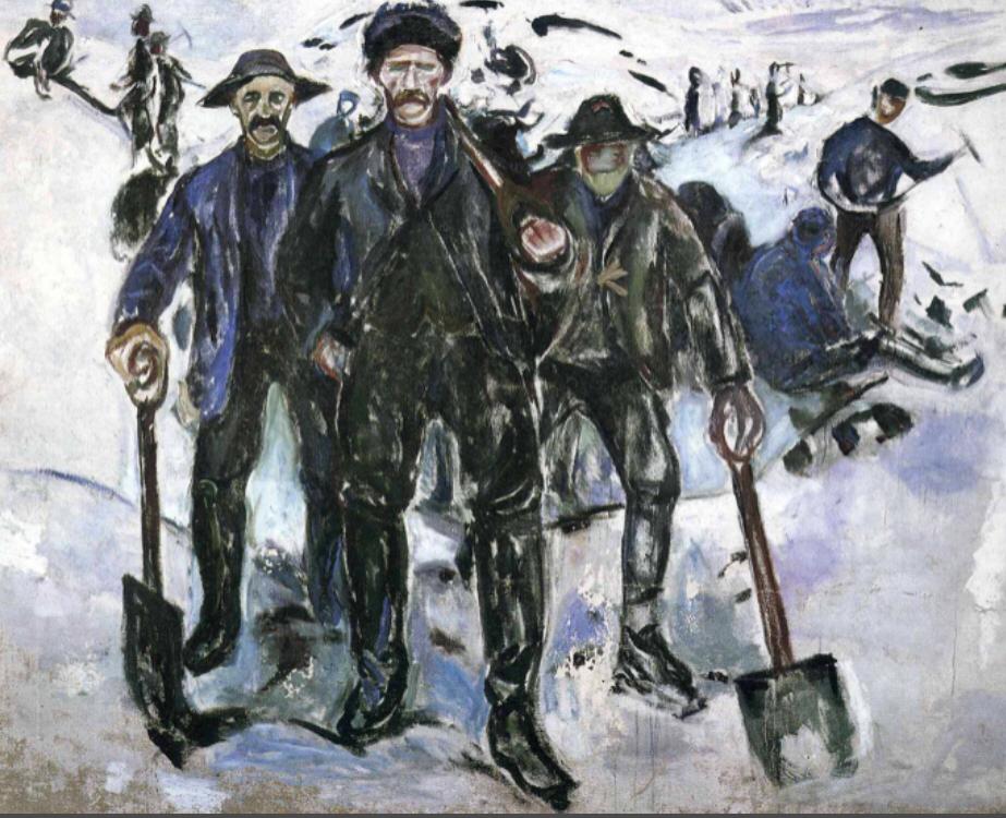 2・ムンク 雪の中の労働者たち