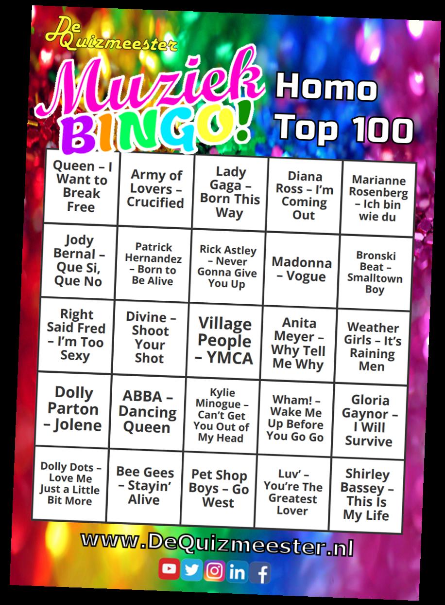 Muziekbingo Homo Top 100