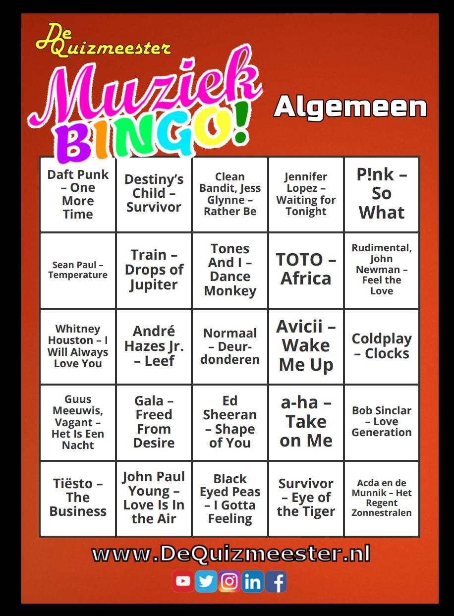 Muziekbingo Algemeen