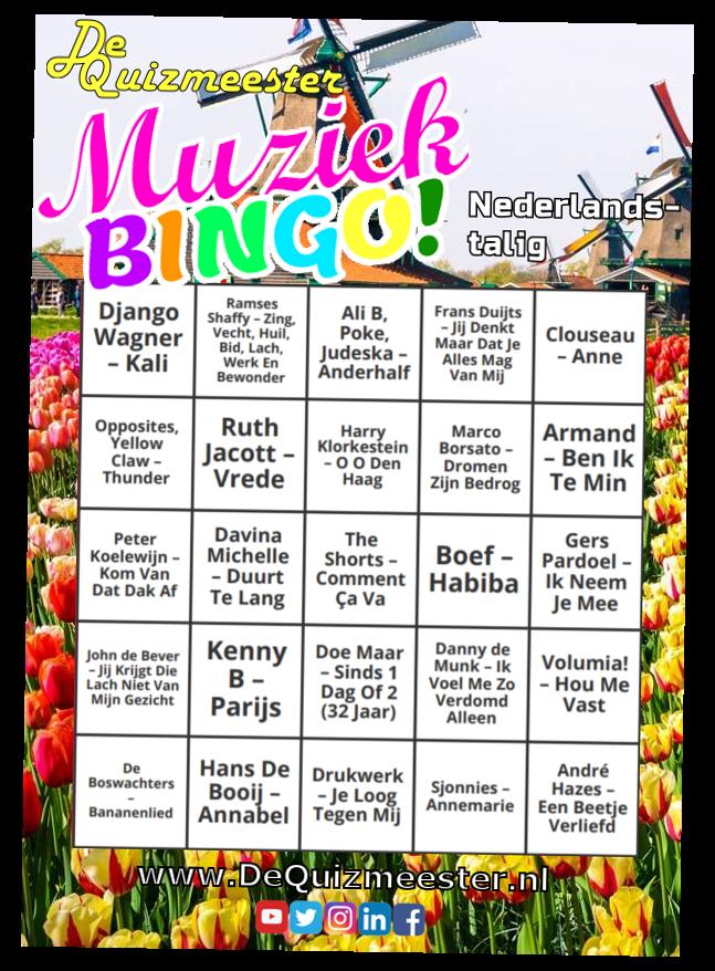 Muziekbingo Nederlandstalig