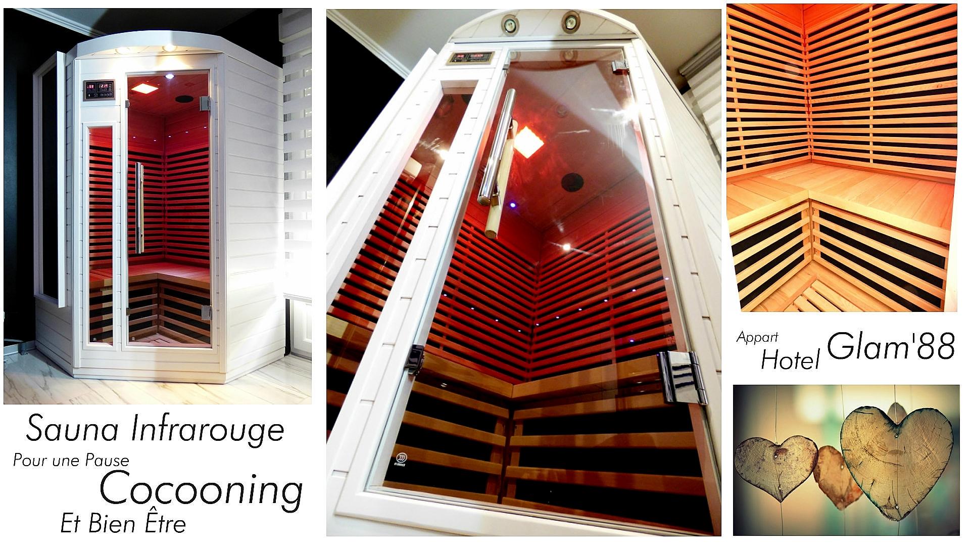 Chambre avec Sauna et Jacuzzi privé appart hotel glam88 vosges