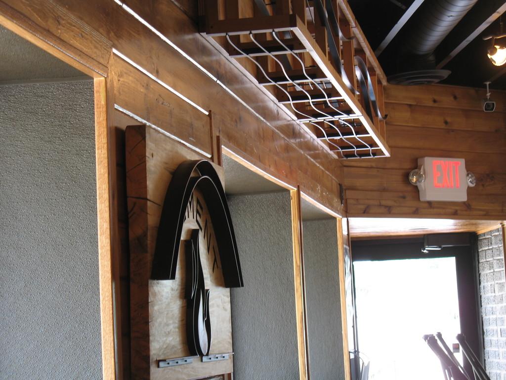 Custom wine storage and art decor for Element Wood Fire Pizza/ NE Minneapolis.