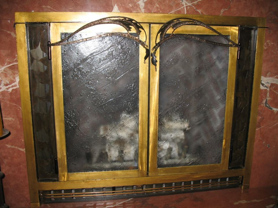 Custom steel, bronze, brass fireplace doors