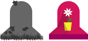 illustration avant/après nettoyage et fleurissement sépulture