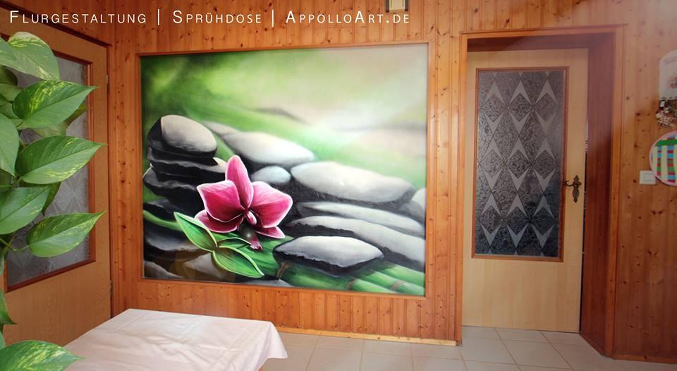 graffiti im büro praxis oder zahnarzt orchidee bunt