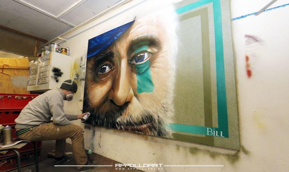 Malerei als Auftrag auf Leinwand und anderen Fassaden