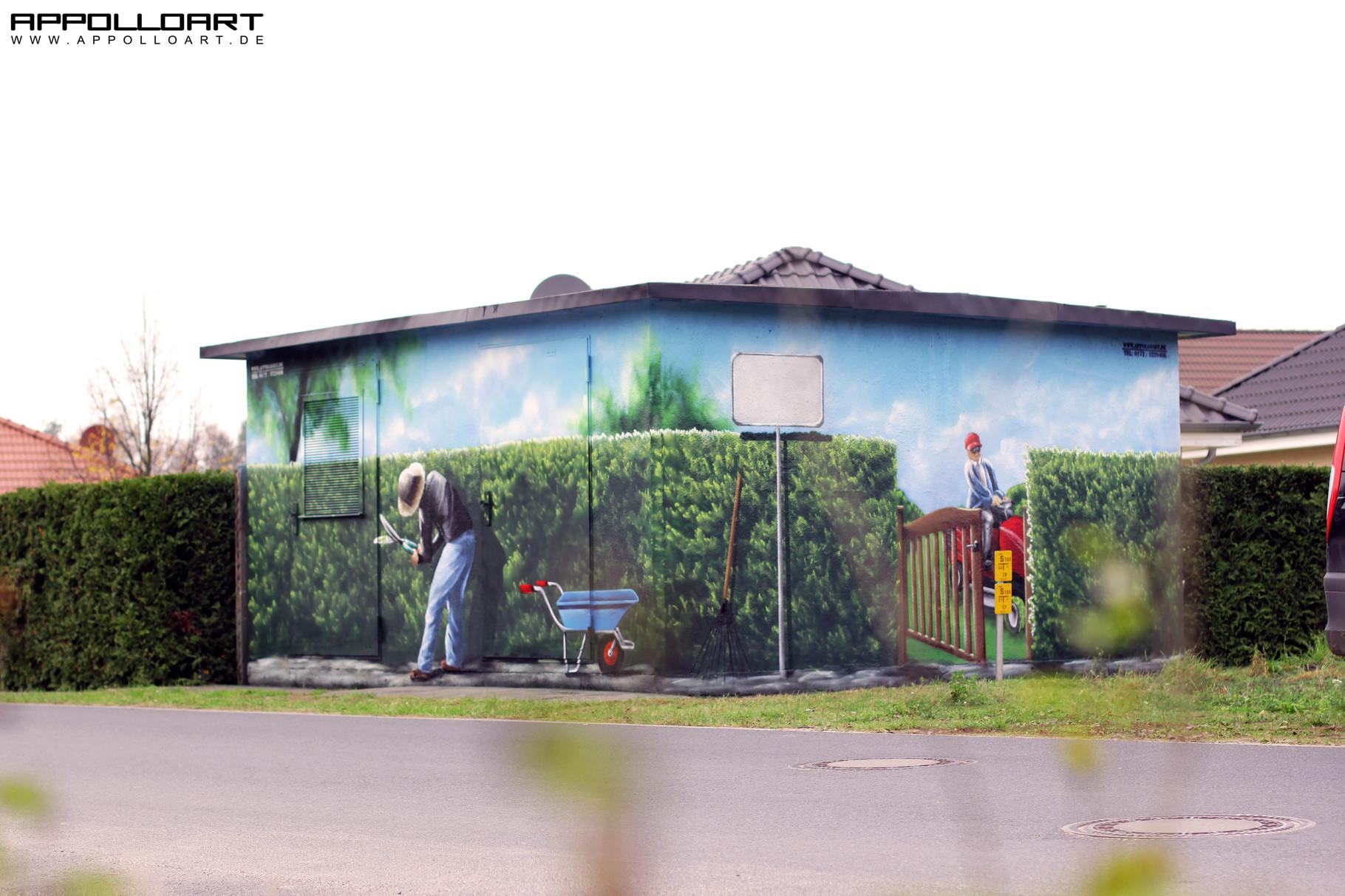garten terrasse illusions malerei ab durch die hecke graffiti k nstler und auftrag. Black Bedroom Furniture Sets. Home Design Ideas