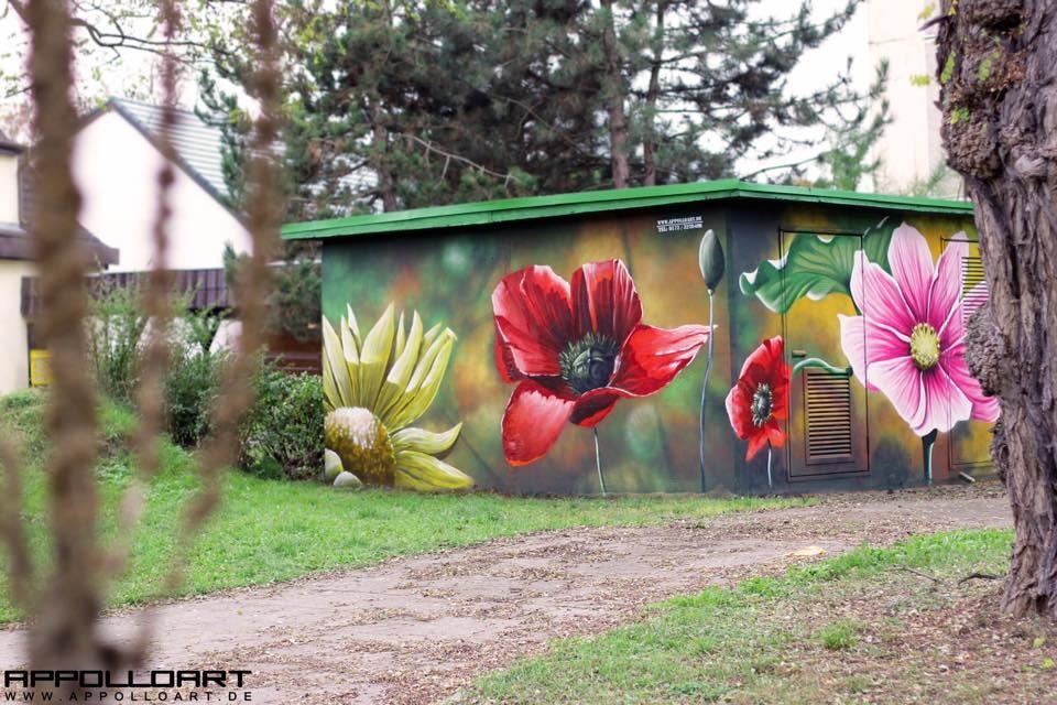 stromstation brandenburg blumen natur graffiti k nstler und auftrag. Black Bedroom Furniture Sets. Home Design Ideas
