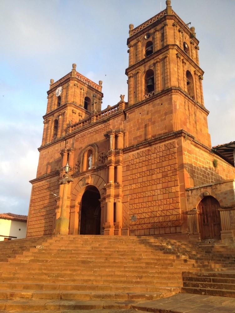 Church in Barichara's main plaza